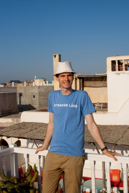 Wearing my Bitmaker Labs t-shirt on the rooftops of Essaouira, Morocco